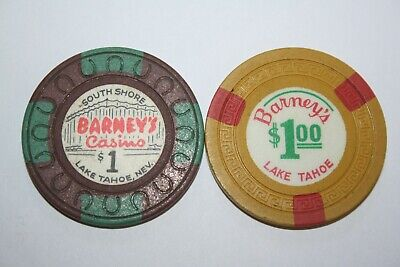 2-Barney's Casino South Shore Lake Tahoe Nevada $1 Chip Small Key Horseshoe Mold