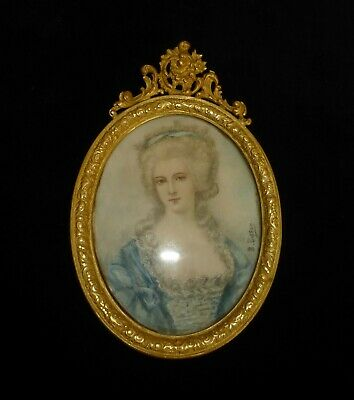 Antique French Miniature Signed Bisson Gilded Bronze Frame - Marquisse Montesson
