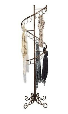 """Spiral Scarf Scarves Rack Display 27 Rings 6' Tall x 17"""" Bronze Ball Finial"""