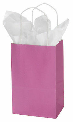 Hot Pink Paper Bags 25 Retail Merchandise Shopping Gift Magenta 5 ¼ x 3 ½ x 8 ½""