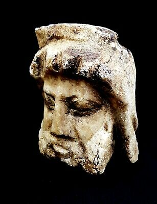 Roman Ptolemaic Egypt Ancient Grecian God Terracotta Unique Marble Stone Bust