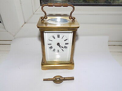 Antique French A.c.c.l. 8 Day Platform Movement Brass Carriage Clock