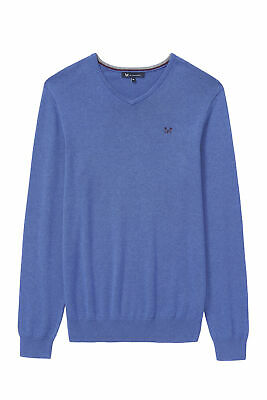 New Crew Clothing Mens Foxley V Neck Jumper in Ultramarine Marl