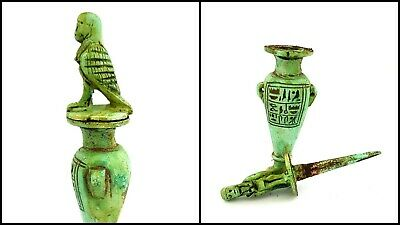 Hieroglyph Vase Amulet Ancient Egypt Antiques Faience Kohl Vessel Horus Figurine