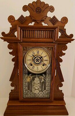"Antique Working 1895 ANSONIA ""Earl"" Victorian Walnut Parlor Mantel Shelf Clock"