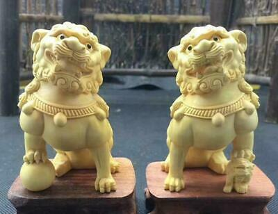 A Pair China Boxwood Carving Fengshui Foo Fu Dog Guardion Door Evil Lion Statue