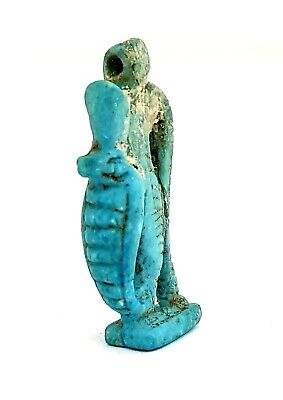 Blue Egyptian Antique Copra Snake Figurine 320 BC Necklace Chain Faience Amulet