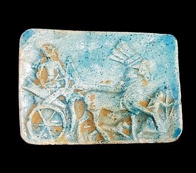 Chariot War Scene Egyptian Antique Relief Wall Plaque Stela Craft Stone Amarna