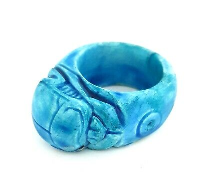 Egyptian Antiques Royal Ring Scarab Beetle Figurine Amulet Faience Egypt Pharaoh