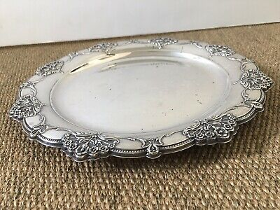 Antique International Sterling Silver 925 Embossed charger plate, 11 Inch 387g