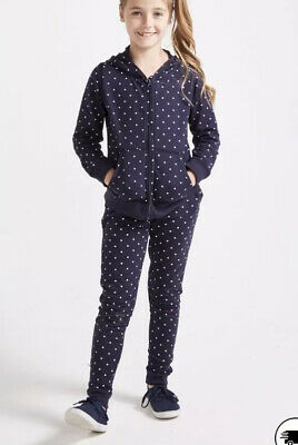 Girls Tracksuit Sugar Squad Navy Heart Print Age 4-5 Jacket And Bottoms DL67 New