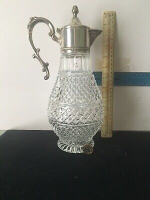 Superb Moulded Glass Claret Jug With Silver Plated Top Excellent Condition