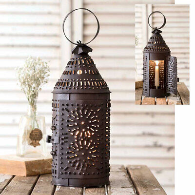 Primitive Tin Candle Lantern Punched  Metal Colonial Chimney Pierced Holder Lamp
