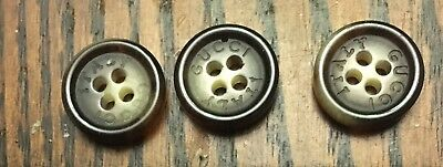 Gucci 3 Tortoise Shell Effect Logo Engraved Buttons