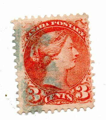 Fancy Hand cancel  on a 3  c Small Queen: DULL ORANGE RED