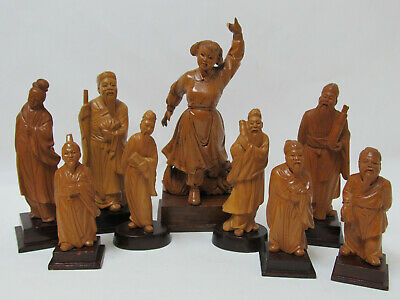 Fine Old Chinese Cultural Revolution Boxwood Carved Figure Figurines (9)