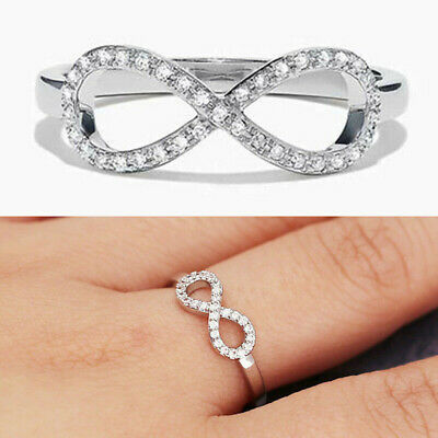 Luxury Elegant White Sapphire 925 Silver Ring Wedding Party Jewelry Gift Sz 6-10