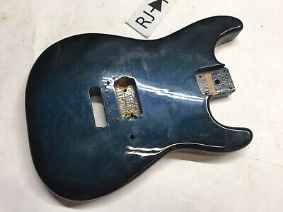 Mighty Mite Strat Style Single Humbucker Electric Guitar Body Trans Blue Ash