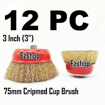 "12 PC 3"" x 5/8"" Arbor FINE Crimped Wire Cup Wheel Brush - For Angle Grinders"