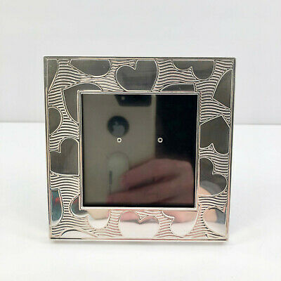 Tiffany & Co. Sterling Silver Heart Pattern Photo Frame