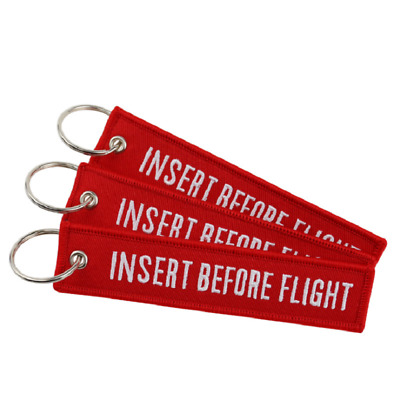 3PCS Insert Before Flight Embroidered Keychain Motorcycle Key Tag Pilot Keyring