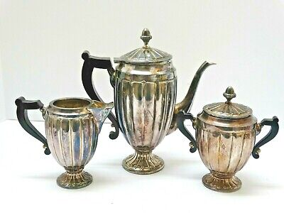 DECO SILVER plated RIBBED fluted BLACK handle POT CREAMER SUGAR w/ acorn finial