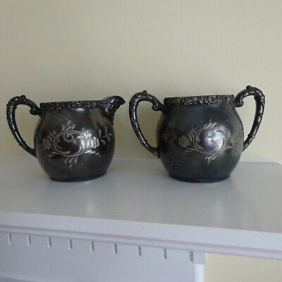 Ornate Vintage Etched Silver Plate Repousse Cream and Sugar Set - BEST Patina