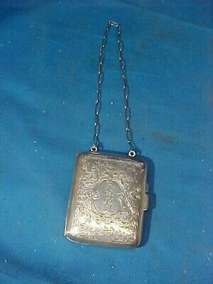 19thc VICTORIAN Era STERLING Silver CHATELAINE COMPACT w COIN PURSE