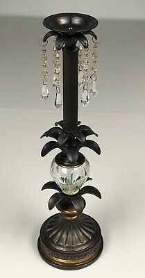 """Vintage Victorian Pillar Style Candle Holder 19.5"""" Tall Bronze Floral With Glass"""