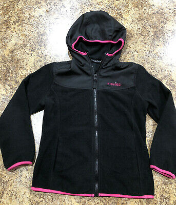Girls Stevies Black & Pink Fleece Zip Up Hoodie Size M 7/8