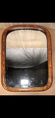 """Antique•Early 1900s•Hand Crafted•Solid Oak•Wall Hanging•Mirror•21-3/4""""x16"""""""