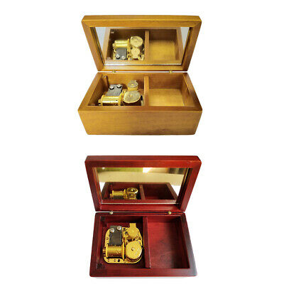 1pc Wooden Jewelry Music Box Retro Handmade Art Crafts Decor Festive Gift