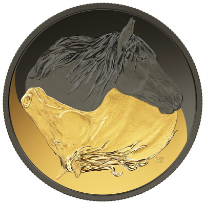2020 Canada $20 Black & gold canadian horse:pure silver coin w plating: presale