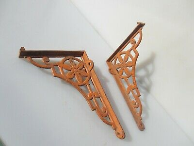 "Victorian Iron Cistern Shelf Brackets Holders Shelve Old Antique Flower 1893 7""D"