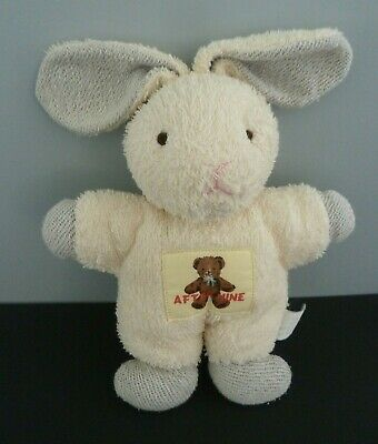 Q1- DOUDOU HOCHET LAPIN VULLI AFTER NINE 23/32cm grelot blanc gris afternine TBE