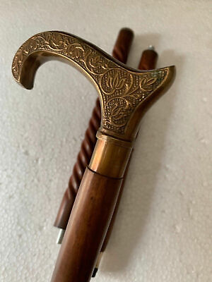 DERBY design OLD BRASS Handle Antique Style Wooden Walking Stick Cane Solid gift