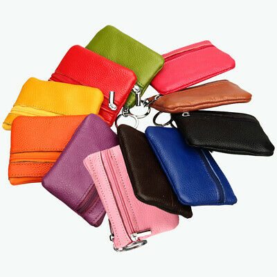 Men Womens Mini Soft Leather Zipper Coin Pouch Purse Change Wallet with Key Ring