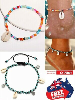 Men Women Handmake Sea Shell Turquoise Bead Anklet Ankle Foot Beach Jewelry 1pc