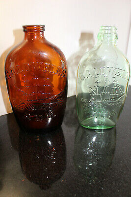 2 Vintage Caldwell's Rum Bottles 1 Pint Amber and Clear