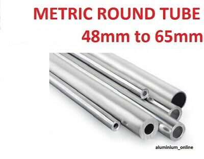 ALUMINIUM ROUND TUBE METRIC 48mm 50mm 55mm 60mm 65mm up to 2500mm