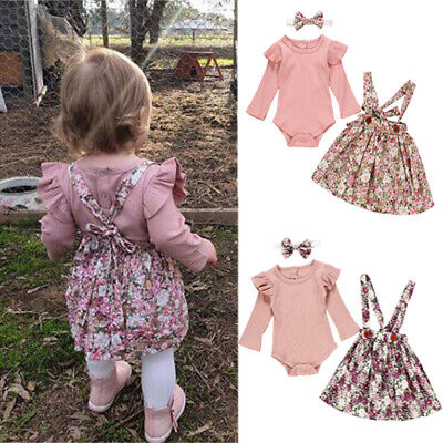 Newborn Baby Toddler Girls Floral Skirt Headband Romper 3Pcs Outfit Clothes Set