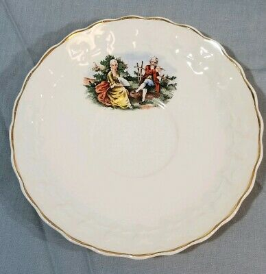 TAYLOR SMITH & TAYLOR Colonial Couple Gold Trim Fine China Teacup Saucer