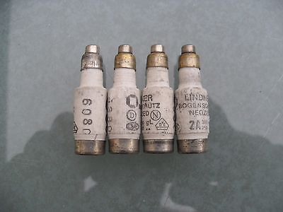4 x Lindner neozed bottle fuses, 2A, D01, gL, 380/250v.