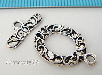 1x STERLING SILVER OVAL FLOWER TOGGLE CLASP 14.5mm #1869