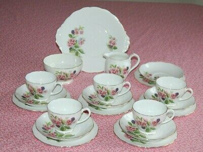 Vintage Roslyn Fine Bone China 20 Piece Floral & Fruit Patterned Tea Set.