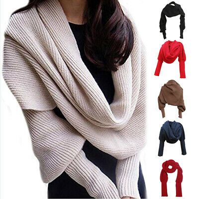 Women Knitted Sweater Tops Scarf with Sleeve Wrap Warm Shawl Scarves For Winter