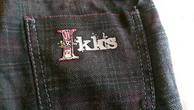 SAVE£22 Ikks Designer rrp£36.99 dark grey tartan pull on trousers boys 3yrs BNWT