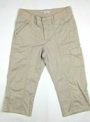 LEE Women's Pants Sz 12 Medium Beige Easy Fit Stretch Waistband Cropped Capri