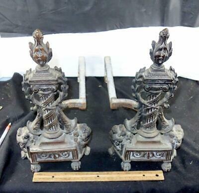 Pair Of French Antique Bronze Andirons For Fireplace !!