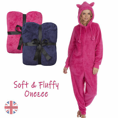 Ladies Girls 1Onesie Warm Fluffy Snuggle Fleece Hooded Onezee Zip Up Full Length